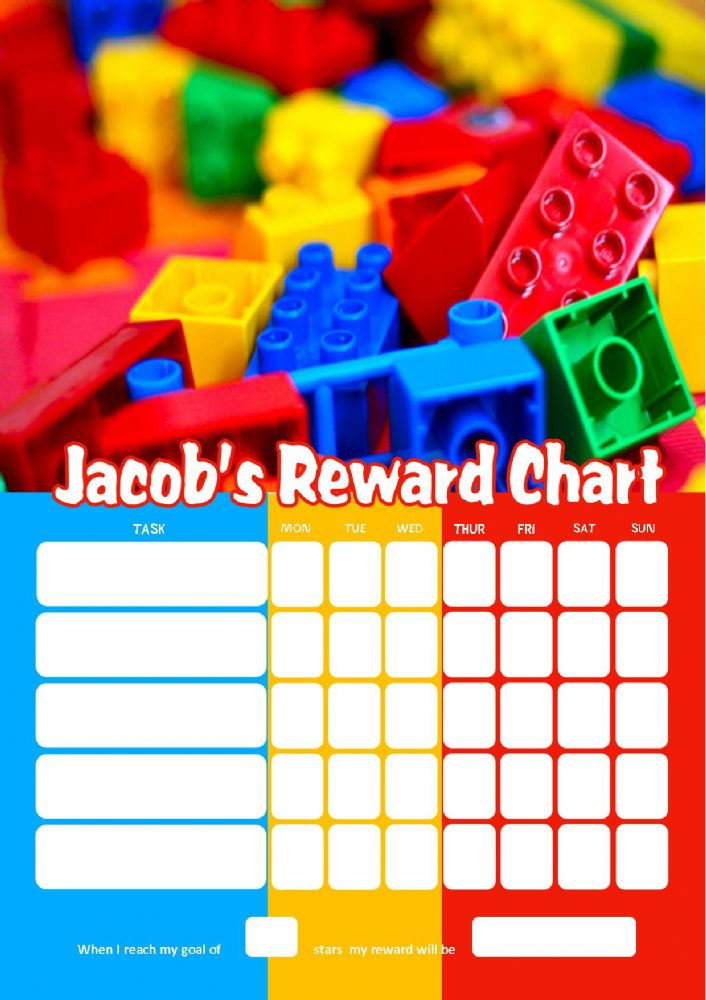 Personalised Lego Reward Chart Adding Photo Option Available
